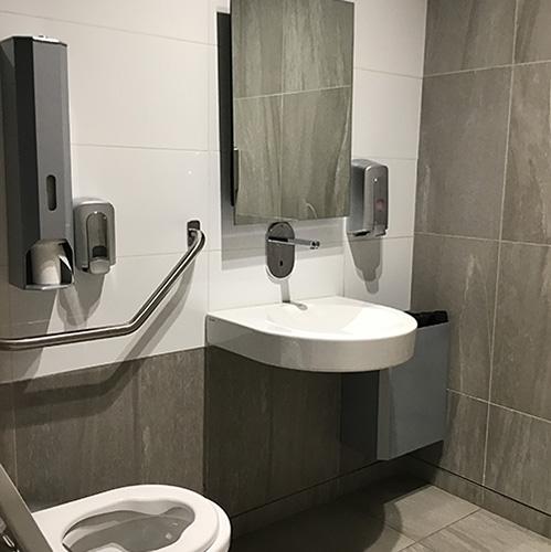 Paraplegic bathroom - wall fittings